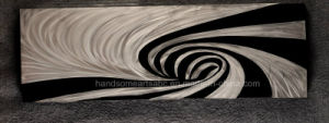 Silver & Black Mixed Abstract Swirls Metal Oil Painting for Decoration pictures & photos