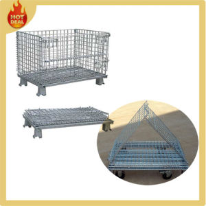 Folding Metal Stacked Wire Mesh Container with Wheels pictures & photos