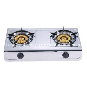 2 Burners Stainless Steel 120-120 Heavy Brass Burner Cap Gas Cooker/Gas Stove pictures & photos