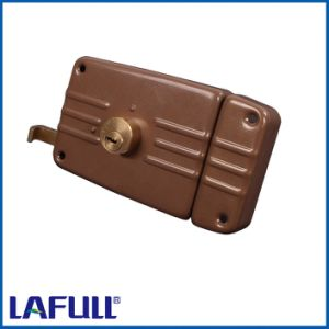 9710-12b Iron Lock Case Brass Cylinder Door Rim Lock pictures & photos