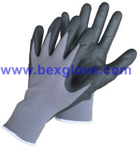 15gauge Nylon/Spandex Liner, Nitrile Coating, Micro-Foam Safety Gloves pictures & photos