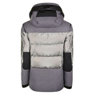 Yarn Dye Melange Grey Hooded Warm Padded Winter Jacket for Women pictures & photos