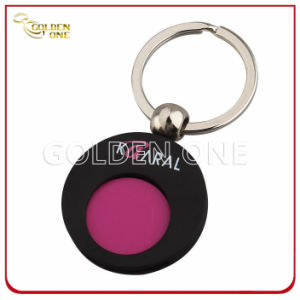 Custom Color Plated Metal Trolley Coin Holder with Key Chain pictures & photos