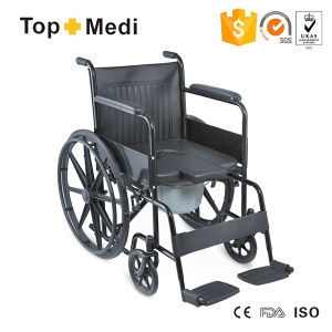 Topmedi Steel Commode Wheelchair with U Shape Commode Chair pictures & photos
