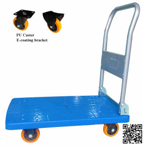 150kg Blue Plastic Platform Hand Truck with PU Caster pictures & photos
