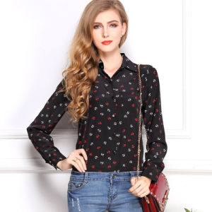 Womens Black Polyester Dress Shirts (ELTWDJ-168) pictures & photos