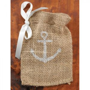 Pretty Small Burlap Gift Bags with Ribbon Bow pictures & photos