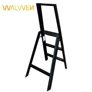 Plastic Sprayed Folding Household 3 Step Handrail Aluminum Ladder pictures & photos