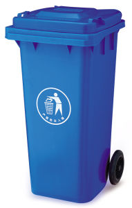 Two Wheels 120L Plastic Wheelie Bin HDPE with Open Top Lids pictures & photos