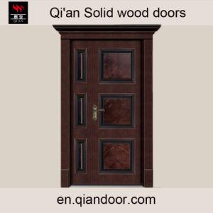 Luxury Villa Double-Leaf Solid Wood Main Door with Door Head pictures & photos
