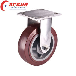150mm Heavy Duty Fixed Castor with PU Wheel (stainless steel)