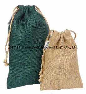Promotional Custom Small Eco Jute Drawstring Pouch Bag pictures & photos
