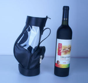 Soft Black Leather Wine Bag with Clear Window pictures & photos