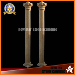 Yellow Marble Hand Carved Roman Column (NS-11C15) pictures & photos