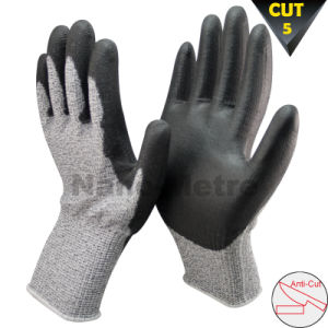 Nmsafety PU Coated Cut Resistant Level 5 Hand Protection Gloves pictures & photos