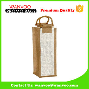 Promotional Jute Shopper Tote Wine Bottle Bag-off White pictures & photos