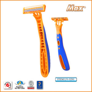 Platinum Coated Triple Stainless Steel Blade Disposable Razor (LV-3291) pictures & photos