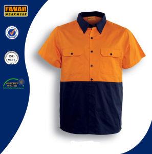 100% Cotton Short Sleeve Hi Vis Twill Safety Work Shirt pictures & photos