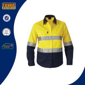 Fluo Orange/Yellow 100%Cotton Work Uniform Reflective Safety Work Shirt pictures & photos
