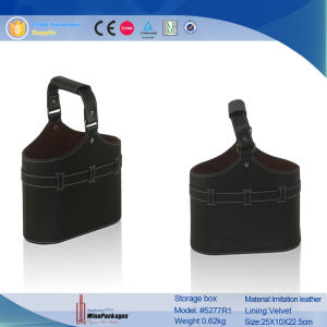 Dual Bottles Portable PU Leather Gift Wine Basket (4046R7) pictures & photos