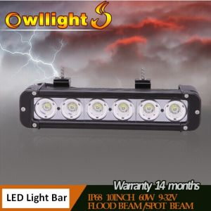 "Owllights High Quality 11"" 4WD off Road LED Light Bar 60W LED Driving Bar Light for off Road Trucks"