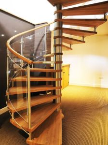 Contemporary Wholesale Glass Balustrade Wooden Spiral Staircase pictures & photos
