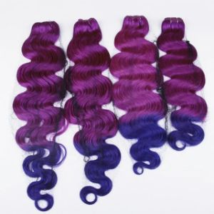 "20"" Non Remy Human Hair Weft Blue/Purple 3tone Ombre Hair"