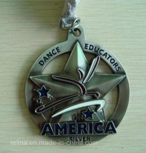 Custom Marathon Running Star Metal Medal with Ribbon for Awards