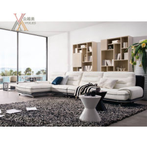 White Black Leisure Leather Sofa with Corner (1233A+51)