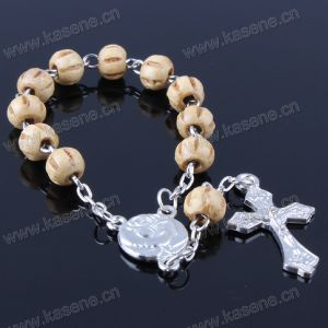 Wooden Beads Bracelet with Pope Francis Alloy Pendant