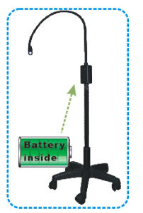 LED Examination Lamp Ks-Q3, Spot Examination Light, Black Mobile Type with Battery for Minor Operation Use