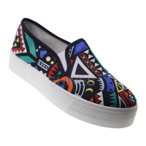 Geometric Canvas Slip on Shoes for Women pictures & photos