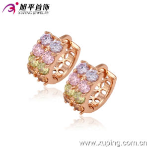 Newest Fashion Charming CZ Crystal Rose Gold-Plated Jewelry Round Hoop Earring - 29234 pictures & photos
