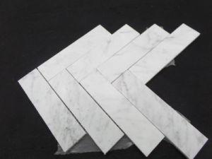 2016 Eastern Polished Marble Bianco Carrara White Herribone Mosaic Tile pictures & photos