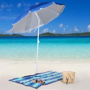 6 FT Blue Sun Blocker Beach Umbrella