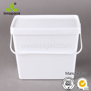 Square PP Plastic Food Grade Bucket with Handle and Cover pictures & photos