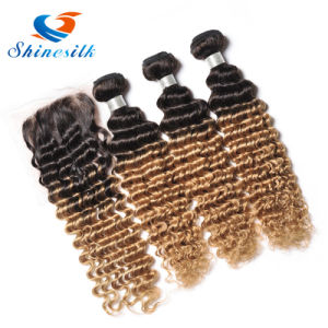 8A Ombre Deep Wave Brazilian Human Hair Extensions 3PCS/Lot Deep Curly Cheap Hair Weaves 1b 27 30 Blonde Deep Wave Hair pictures & photos