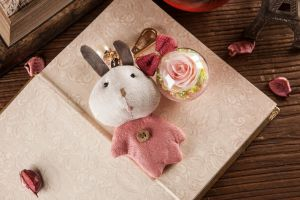 Ivenran Preserved Fresh Flower Pink Rabbit Keychain for Gift and Decoration pictures & photos