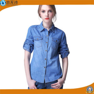 Factory OEM Women Long Sleeve Shirt Denim Blouse Shirts pictures & photos