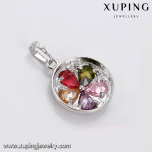 31825 Fashion Rhodium Plated Hot Sale Round Flower Shaped Cubic Zirconia Jewelry Pendant pictures & photos