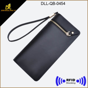 RFID Blocking Top Leather Women Wallet with Wrist Rope pictures & photos