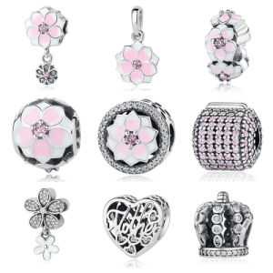 Genuine 925 Sterling Silver Cerise Enamel & Pink Flower Charm Beads Fit Bracelets Jewelry pictures & photos