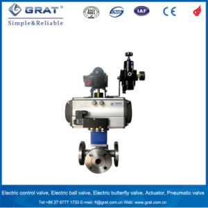 3 Way T Type Flange Connection Pneuamtic Ball Valve with Limit Switch pictures & photos