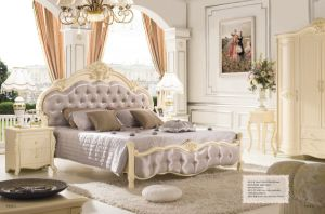 Elegant Purple Upholstered Leather King Size Bed for Home (LB-028)