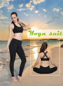 Wholesale Women Fitness Vest Yoga Sports Bra for Women Sexy Black Pants Set pictures & photos