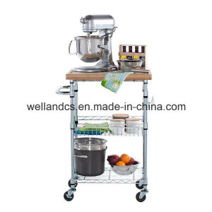 3 Tiers Metal Kitchen Trolley/Cart with Bamboo Board (TR603590A3C) pictures & photos