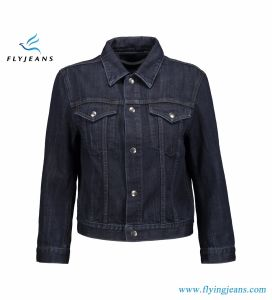 Dark-Blue Jacket for Women and Ladies with 100% Cotton Denim Snap Fastenings pictures & photos
