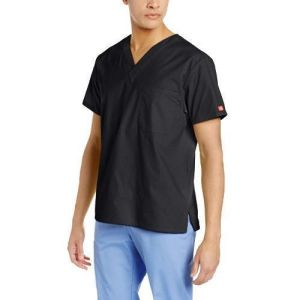 Unisex V-Neck Scrub Black Nurse Uniform (A613)