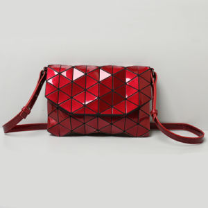 Red PU Rhombic Geometry Lady Handbag (A0109-8)
