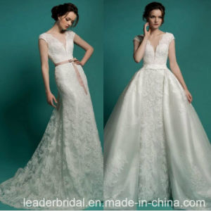 Lace Organza Vestido 2018 Bridal Gown Panel Wedding Dresses W149 pictures & photos